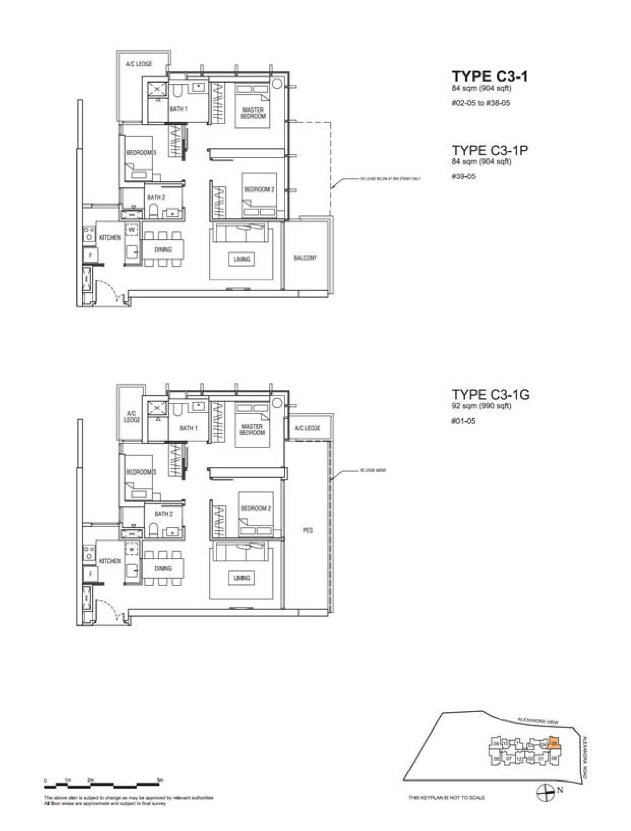 Alex Residences 3 Bedroom Floor Plans Type C3-1, C3-1P, C3-1G