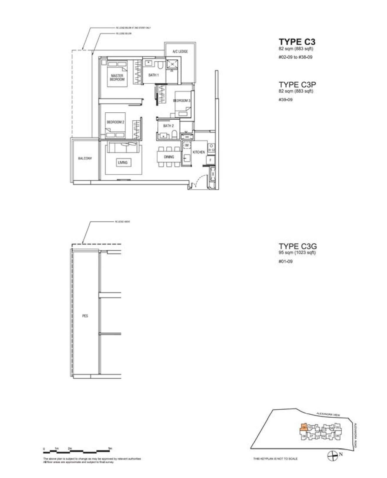 Alex Residences 3 Bedroom Floor Plans Type C3, C3P, C3G