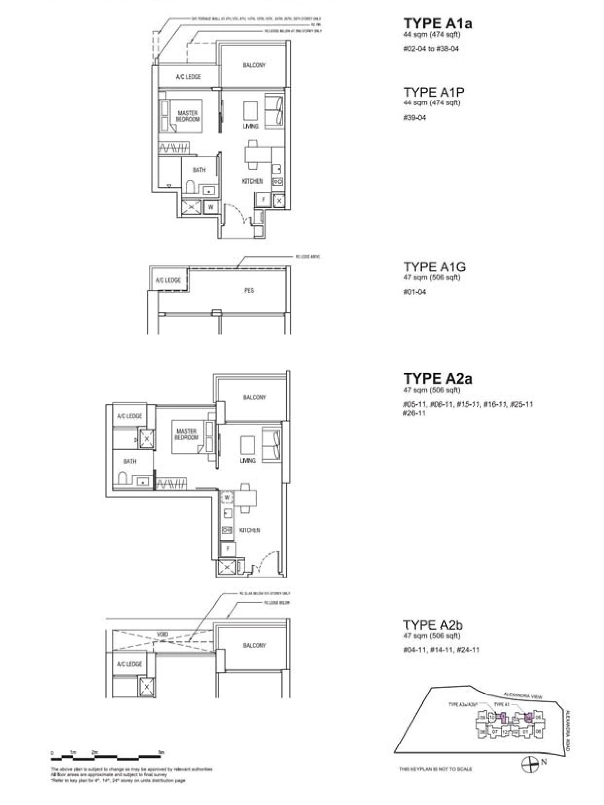 Alex Residences 1 Bedroom Type A1, A1P, A1G, A2a, A2b Floor Plans
