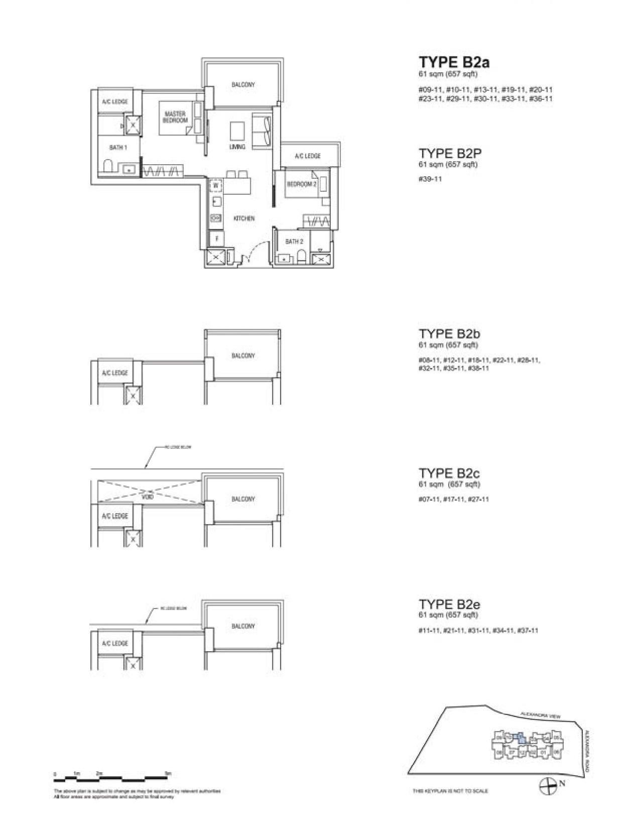 Alex Residences 2 Bedroom Type B2a, B2P, B2b, B2c, B2e Floor Plans