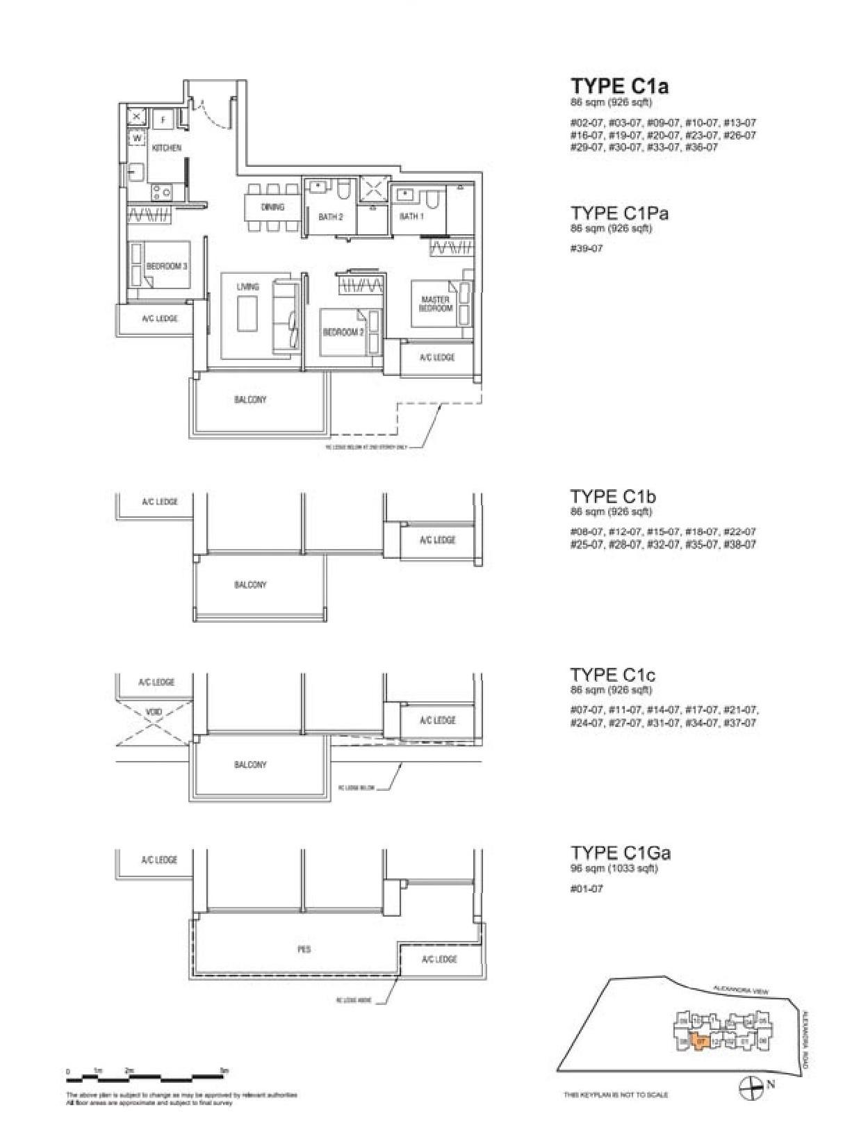Alex Residences 3 Bedroom Floor Plans Type C1a, C1Pa, C1b, C1c, C1Ga
