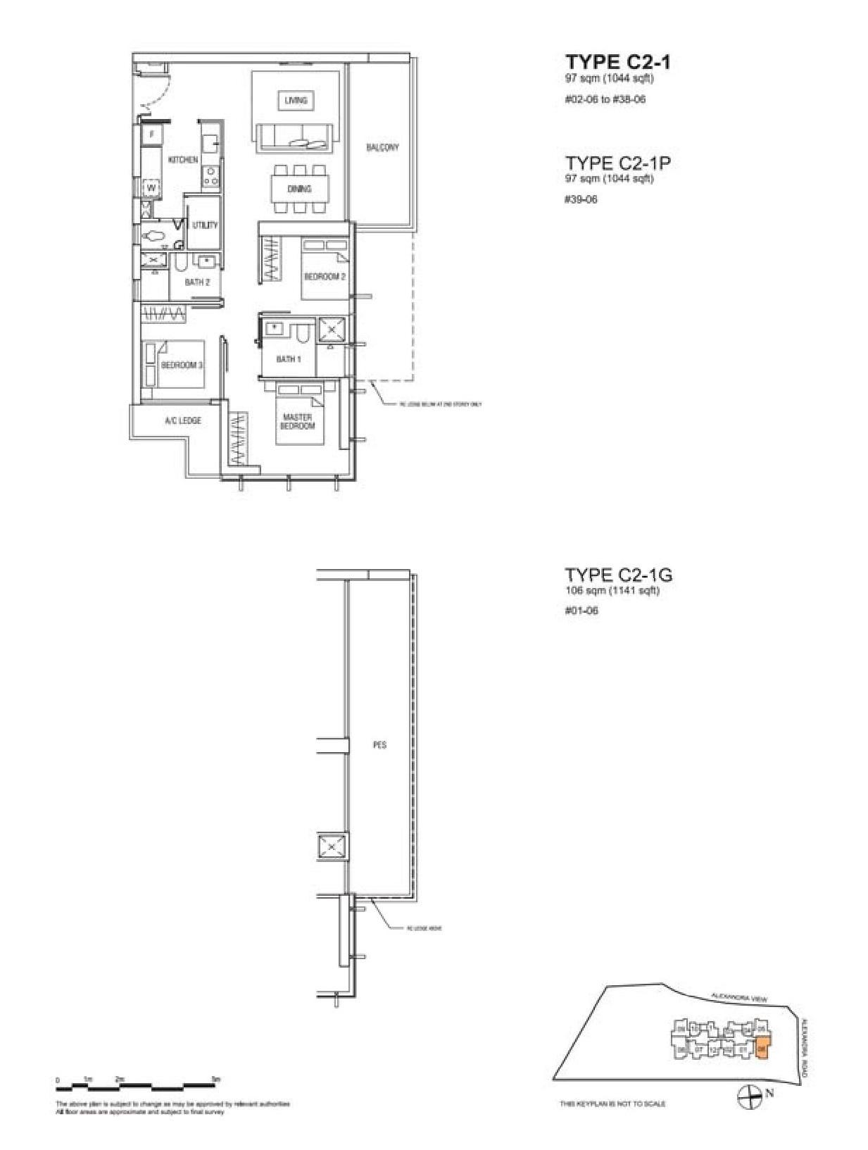 Alex Residences 3 Bedroom + Utility Floor Plans Type C2-1, C2-1P, C2-1G