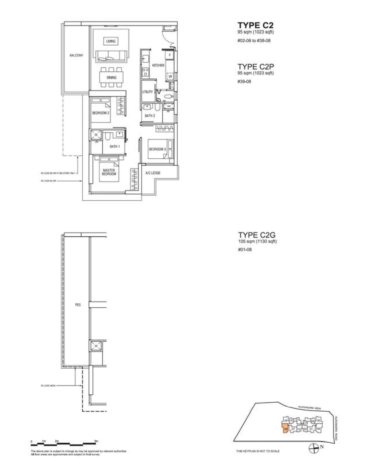 Alex Residences 3 Bedroom + Utility Floor Plans Type C2, C2P, C2G