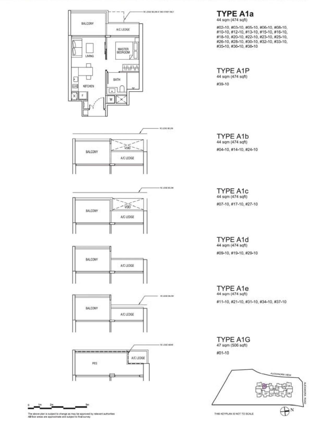 Alex Residences 1 Bedroom Type A1a, A1P, A1b, A1c, A1d, A1e, A1G Floor Plans