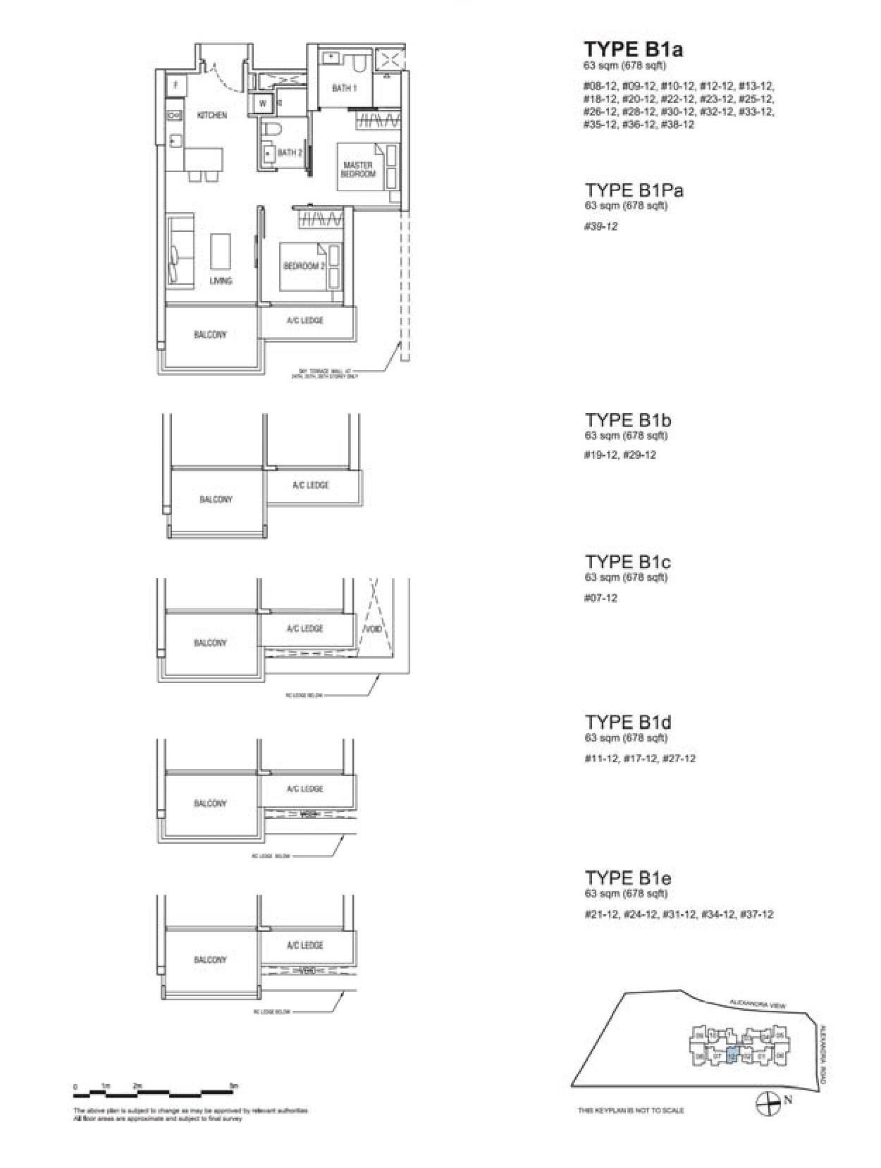 Alex Residences 2 Bedroom Type B1a, B1Pa, B1b, B1c, B1d, B1e Floor Plans